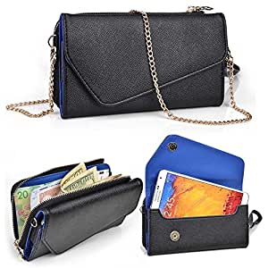 Allview X1 Xtreme Wallet Wristlet Clutch With Crossbody Chain and Hand Strap (Removable) and Credit Card Slots| Black & Blue Symphony