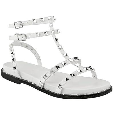 c185080339b60 Fashion Thirsty Sandales Spartiates Plates - Brides - Gothique Punk - Femme  - Faux Cuir