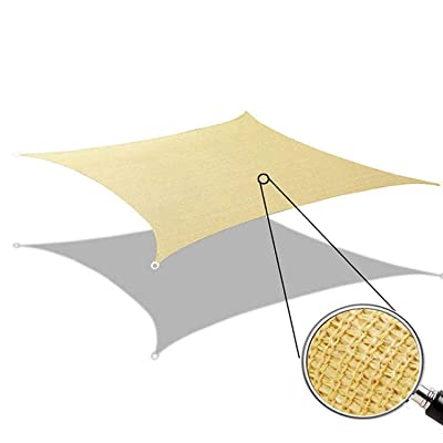 MIYA Sun Shade Sail - Rectangle 10' x 12' UV Block Shade Cloth - Permeable Canopy Pergolas Top Cover - Water & Air Permeable Awning for Outdoor Patio Garden Sand Color - 5 Years Warranty : Garden & Outdoor