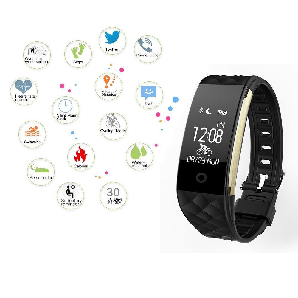 ... inteligente con el monitor del ritmo cardíaco; podómetro, Calorie Tracker, monitor de dormir la muñeca del deporte del reloj inteligente compatible con ...
