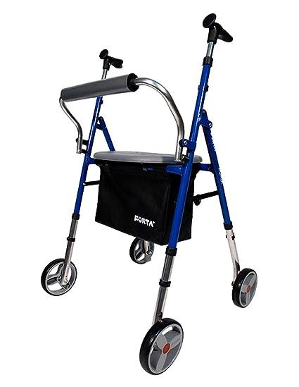 Andador para ancianos plegable | Asiento regulable en altura | Fabricado en Acero | 4 ruedas