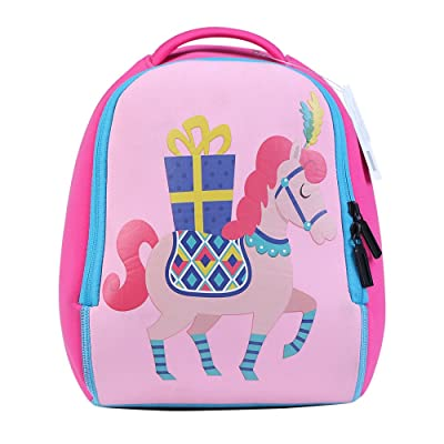 MARY LET'S SING Little Kid and Toddler Insulated Water-Resistant SBR Diving Material Lunch Bag Kids Zoo Backpack (Pony)