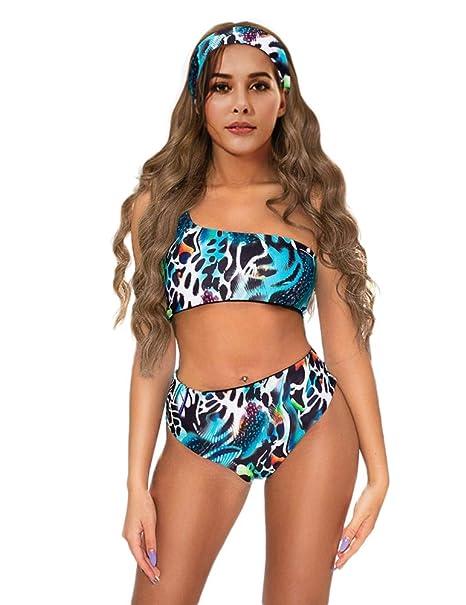 cde638eefd596 M Womens Sexy Bikini Set Animal Print Swimsuit One Shoulder Top High Waist  Bottom