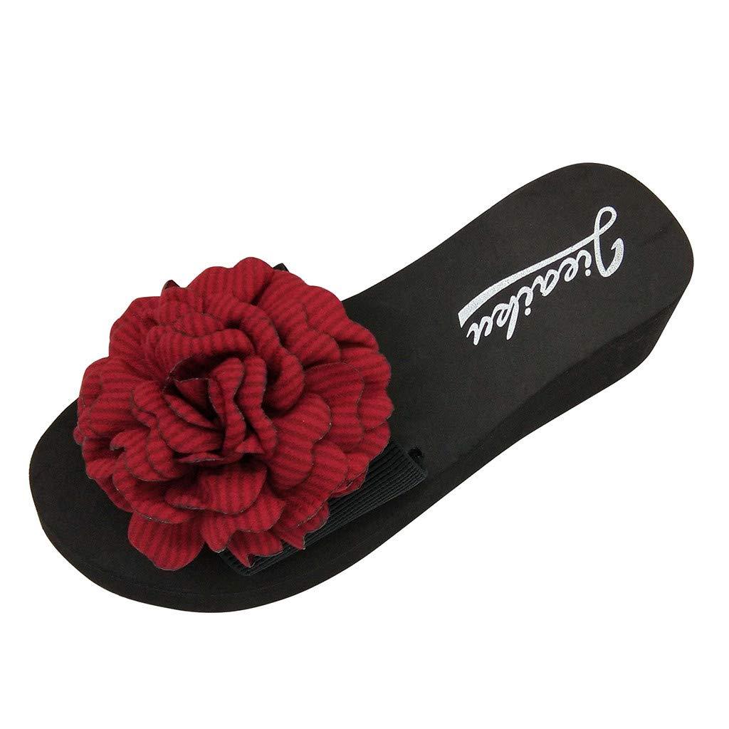 Women/'s Bohemia Beaded Chain Flip Flops Shoes Wedge Heels Platform Sandals Size