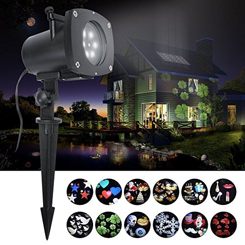 (HOSYO LED Projector Light, Motion Landscape Holidays Lights Projector LED Spotlights 120V Waterproof With 12pcs Switchable Pattern For Christmas Halloween Holiday Home Decoration)