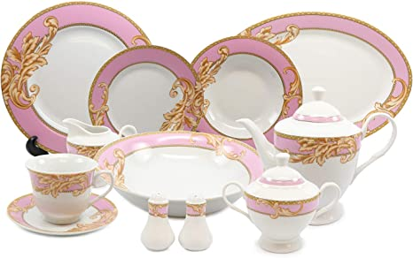 Royalty Porcelain Vintage Pink 49-pc Dinnerware Set /'Ladybug/'