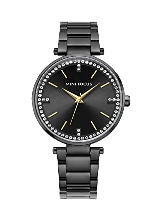 4455aa288dd3 Black Women'S Diamond Watch With Stainless Steel Band Classic Popular Nice  Trendy Graceful Ladies Watch