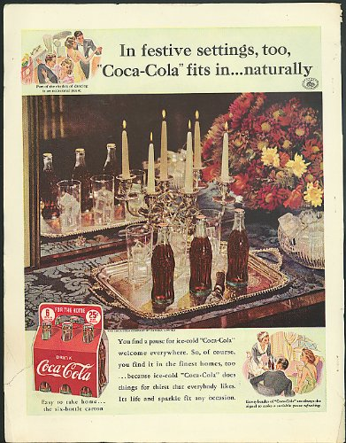 Festive setting Coca-Cola fits in naturally ad 1939 Canadian six pack