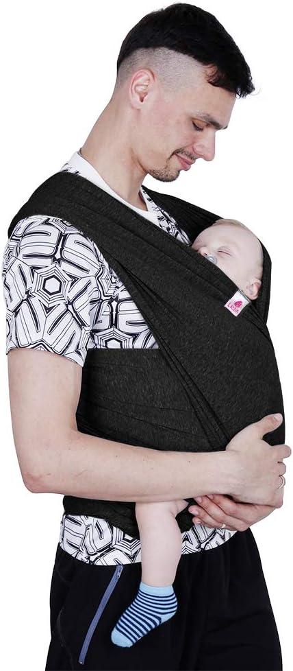 Lictin Fular Portabebés Elástico Negro Portador de Bebé ;Pañuelo de algodón;Unisex;Para padres (Negro)