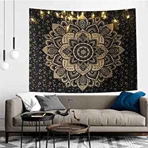 Black Gold Mandala Tapestry Wall Hanging Indian Bohemian Hippie Psychedelic Tapestry for Bedroom Livingroom, Floral Tapestry Dorm Decor (Includes LED String,78.7 x 59 inches) SL043