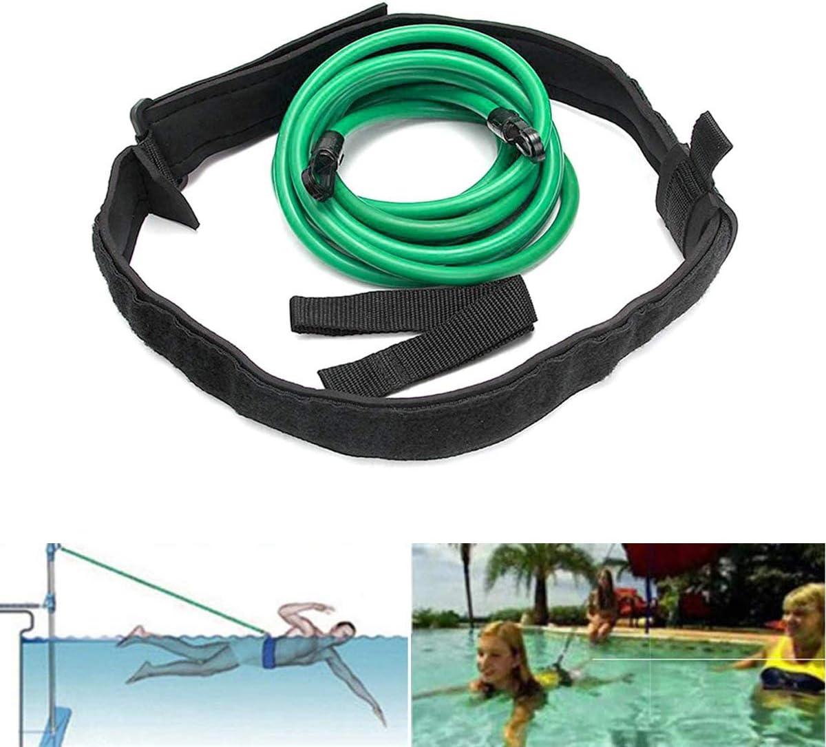 Yimeezuyu Swim Training Belts 3M Swim Bungee Cords Resistance Bands Swim Training Leash Swim Harness Static Swimming Belt