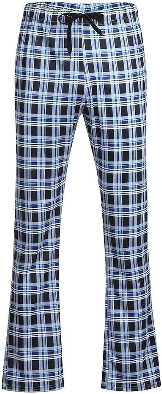 Pantalones de Dormir para Hombre Ropa de Dormir Pantalones de Pijama a Cuadros Ropa de Dormir Pijamas para el hogar Hombres Algodón y Lino: Amazon.es: Ropa y accesorios