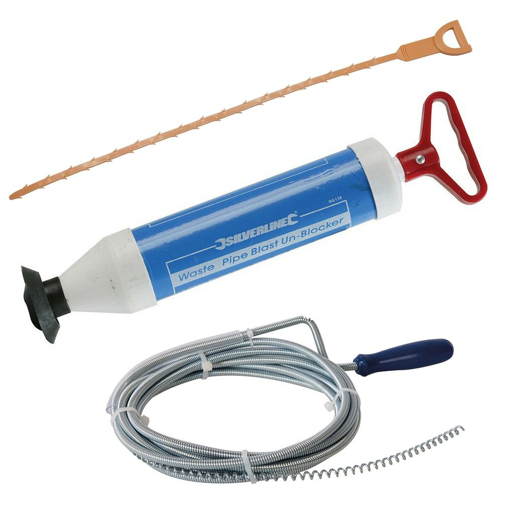 Set of 3 Tools for All of Your Drain Unblocking Needs - Drain Blaster Pump, Drain Cleaning Tool and Drain Auger Tooltime®