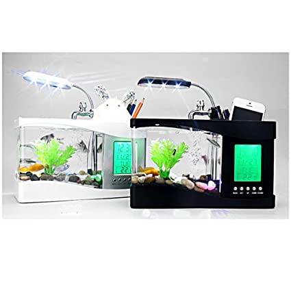 Mini USB Escritorio Pantalla LCD Acuario de Reloj Pecera Luz Lámpara Blanca / Negro - Negro: Amazon.es: Hogar
