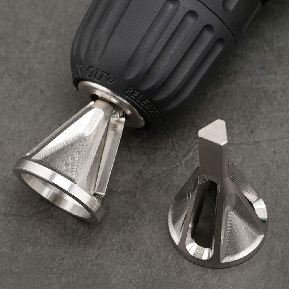Gocheer Entgratwerkzeug für Außenfasen,GR15 Grat Werkzeug entfernen,Bohrer Zubehör, Entgraten Außenfase Werkzeug für Metallaußendurchmesser (Silber)
