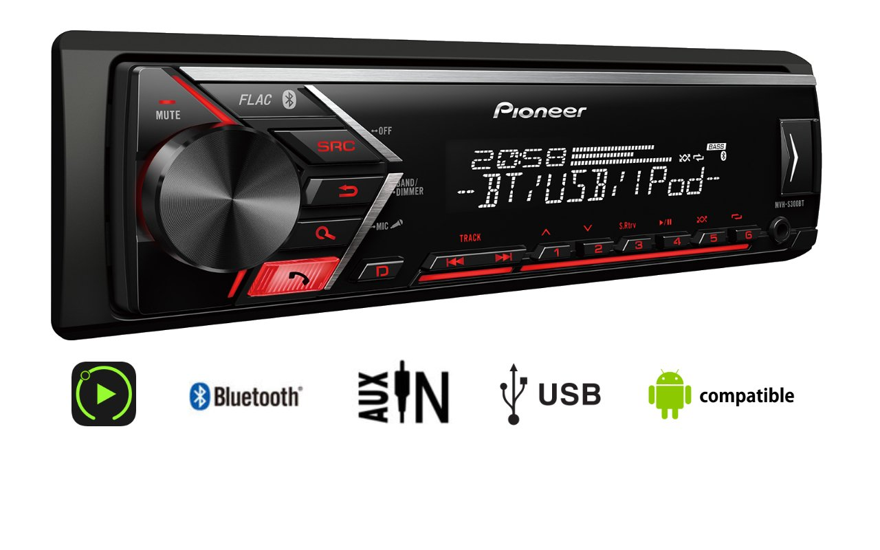 Pioneer Car Multimedia MVH-S300BT Auto Radio pour Appareil Bluetooth Noir