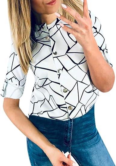 Hokoaidel Camisas Mujer, Blusas y Camisa Mujer Vaquera Sexy Camisetas de Manga Corta Blusas Camisa de Media Manga Cuartos con Botones de Moda para Mujer Blusa Suelta Tops: Amazon.es: Ropa y accesorios