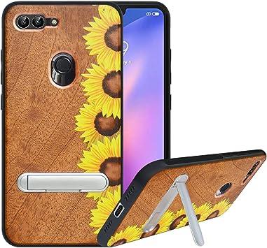 HHDY Funda de Madera para Xiaomi Mi 8 Lite, Carcasa Kickstand con ...