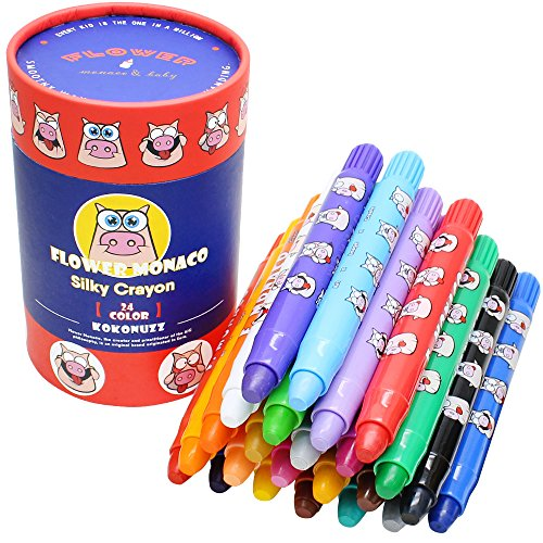 24 Colors Non Toxic Crayons for Toddlers - Silky Washable Large Twistable Crayons - Safe for Baby, Kids and Children Flower Monaco