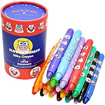 24 Colors Non Toxic Crayons for Toddlers - Silky Washable Large Crayons Kids Face Paint - Safe for Infant, Kids and Children Flower Monaco