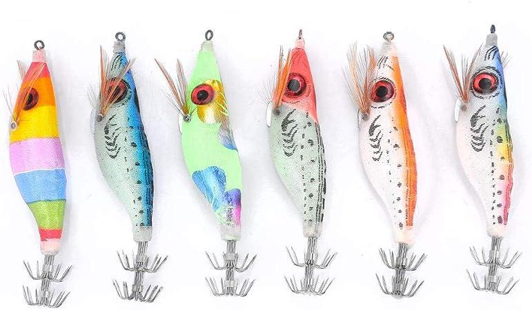 Comprar Alomejor 6 UNIDS Pesca Luminoso Camarón Señuelo 10 cm Duro Artificial Duro Madera Camarón Cebo con Pulpo Sepia Calamares Ganchos para Pesca al Aire Libre