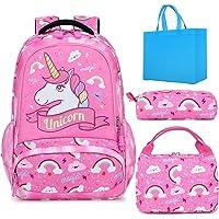 Mochilas Escolar para Niña Impermeable Unicornio Mochila Infantil Conjunto de Bolsos 3 en 1 con Bolsa del Almuerzo y…