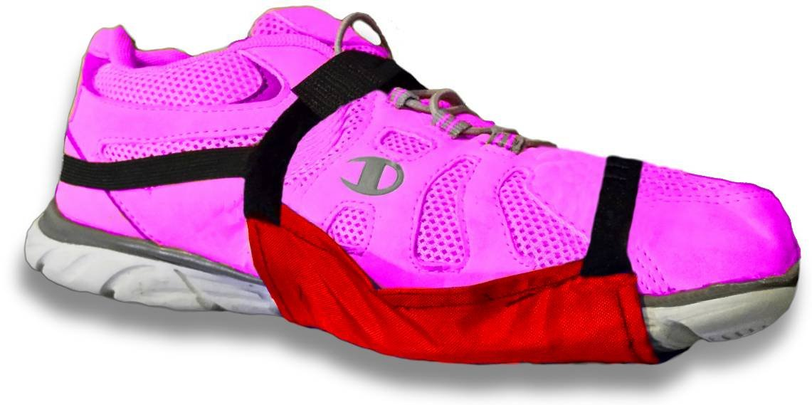 Carpet Gliders, ADJUSTABLE Zgliderz with 'stay-on heel strap' ! One size fits all! (Red) by Zgliderz (Image #2)