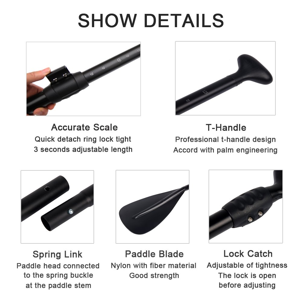 Adjustable SUP Paddle - SUP Accessories 3 Piece Alloy Stand Up Paddleboard Paddle for Water Sports Equipment Inflatable SUP Kayak w/Aluminum Shaft | Nylon Blade | Adventurer Series by Sudoo (Image #5)