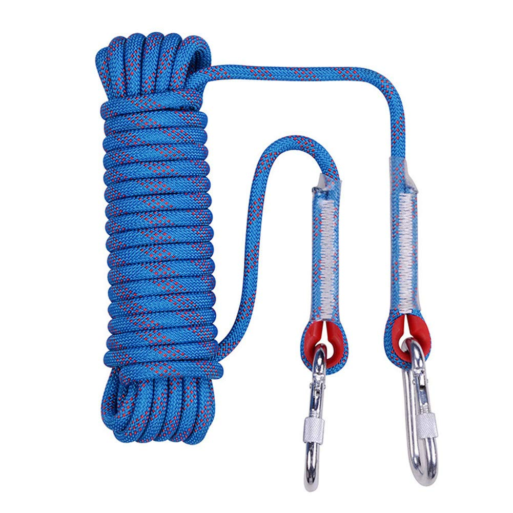 安全クライミングロープ、12 mmスタティックライフラインロープアウトドア緊急脱出ロープ多機能洗濯物用ハイキングケイビングキャンプエンジニアリングレスキュー用品、ブルー,90m 90m  B07SZTSM56