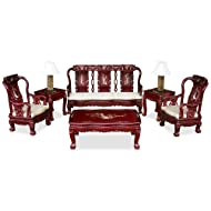ChinaFurnitureOnline Hand Crafted Imperial Prosperity Design Rosewood Sofa Set (6 Pieces) - Dark Cherry