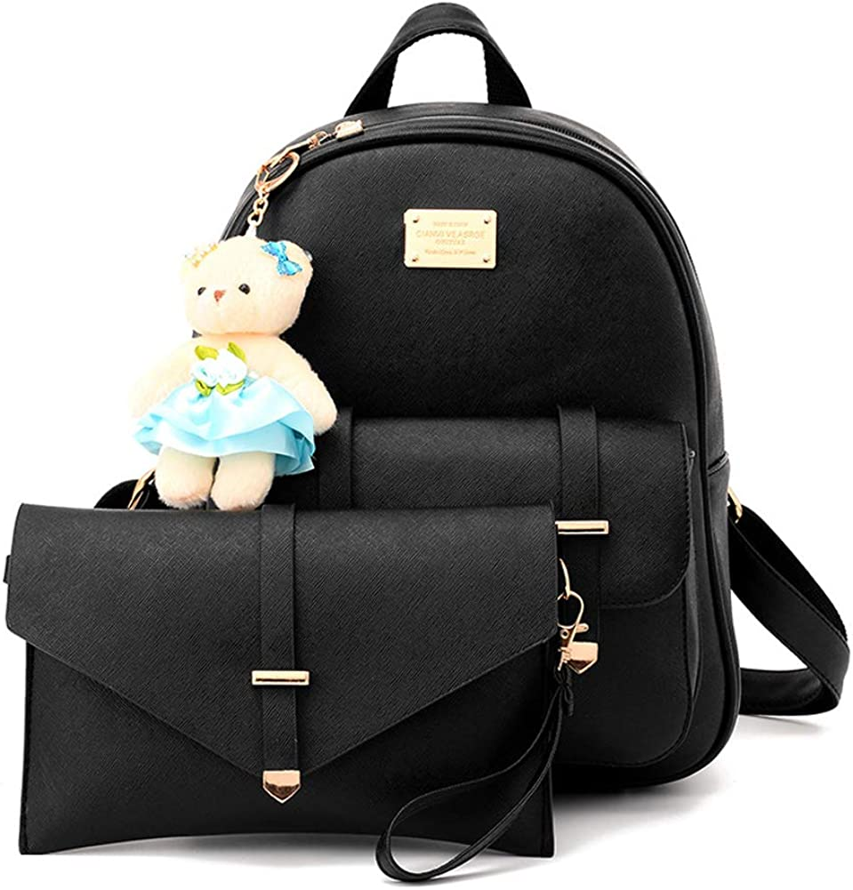 BAG WIZARD Cute Small Backpack Purse Set with Pouch Bag for Women and Teen Girls