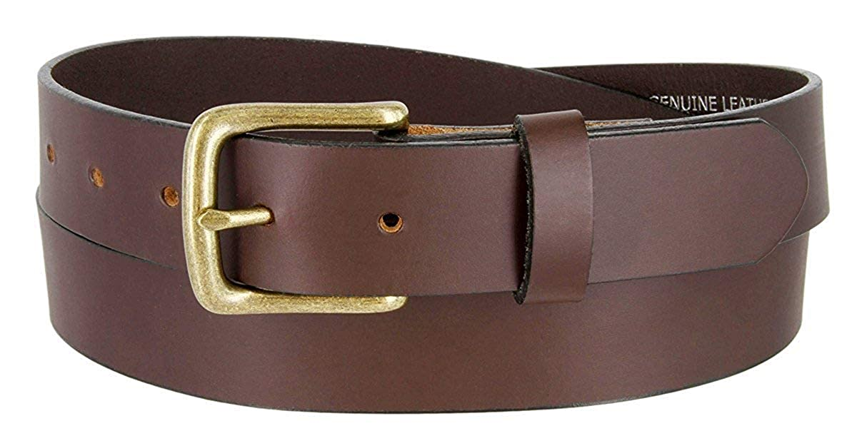MONIQUE Men 1-1//4 Wide Black Or Brown Sold Genuine Leather Nickel Buckle Belt