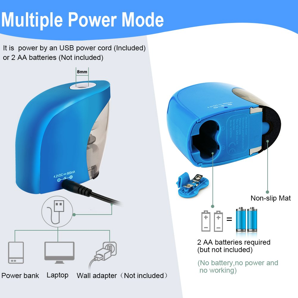 Pencil Sharpener with Auto Feature, BENGOO Electric Durable and Portable Pencil Sharpener for 8mm diameter Pencils, for School Classroom, Home Study, Office Use-Blue (Batteries not included) by BENGOO (Image #4)