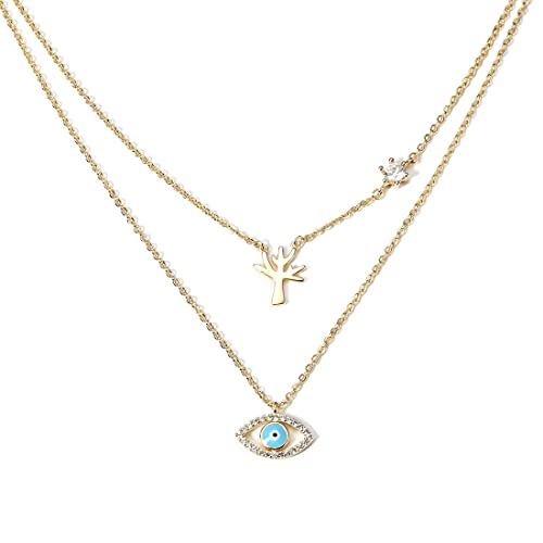 Creative Devil s Eye Necklace Vintage Gold Plated Alloy Cubic Zirconia  Personalized Tree Charming Choker Unique Double 736323f8a