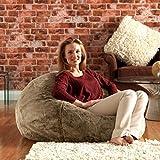 ICON XL Panelled Faux Fur Bean Bag Chair - Extra Large Bean Bags - Large Designer Bean Bags (Mink) by Bean Bag Bazaar