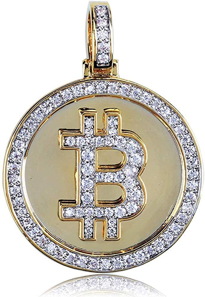 VUZALRANO Hip Hop CZ Simulated CZ 14K Gold Plated Bitcoin Symbol Pendant Necklace 23.6 Rope Chain