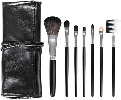 7PCS / SET pinceles maquillaje brochas maquillaje portátil Kit de pinceles de maquillaje maquillaje profesional de los cepillos sintético Conjunto Kabuki Fundación Brocha Líquido crema(Negro): Amazon.es: Belleza