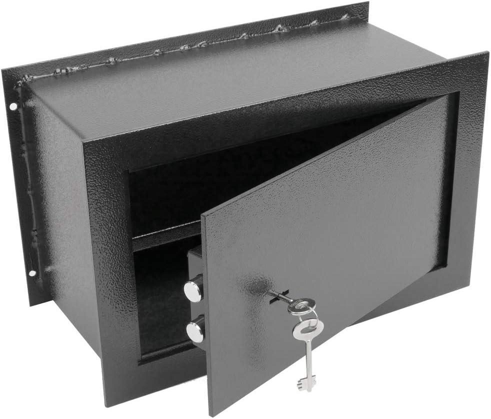 PrimeMatik - Caja Fuerte de Seguridad empotrada de Acero con Llaves 40x20x25cm Negra: Amazon.es: Electrónica
