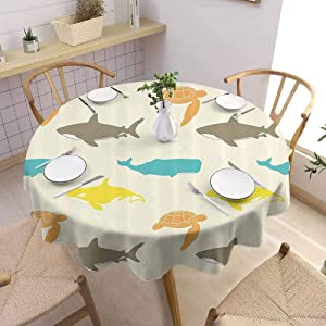 Sea Animals Decor Waterproof Backing Round Tablecloth Pattern with Whale Fabric Tablecloth Diameter 62 inch Shark and Turtle Aquarium Decorative Doodle Style