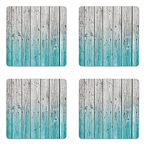 - Ambesonne Rustic Coaster Set of 4, Wood Panels Background with Digital Tones Effect Country House Art Image, Square Hardboard Gloss Coasters for Drinks, Standard Size, Teal Grey