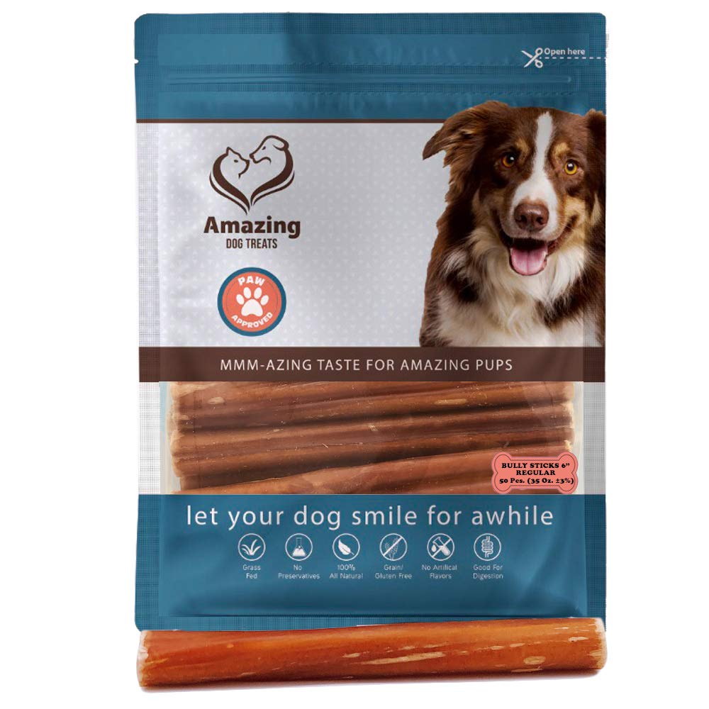 6 Inch Regular Bully Sticks Premium Dog Chews - All Natural Rawhide Alternative - Long Lasting Dog Treats - 100% Beef - Promotes Canine Dental Health (50 Pack)