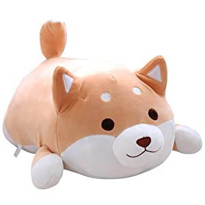 Shiba Inu Dog Plush Pillow, Cute Corgi Akita Stuffed Animals Doll Toy Gifts for Valentine's Gift, Christmas,Sofa Chair, brown round eye, 22.8""