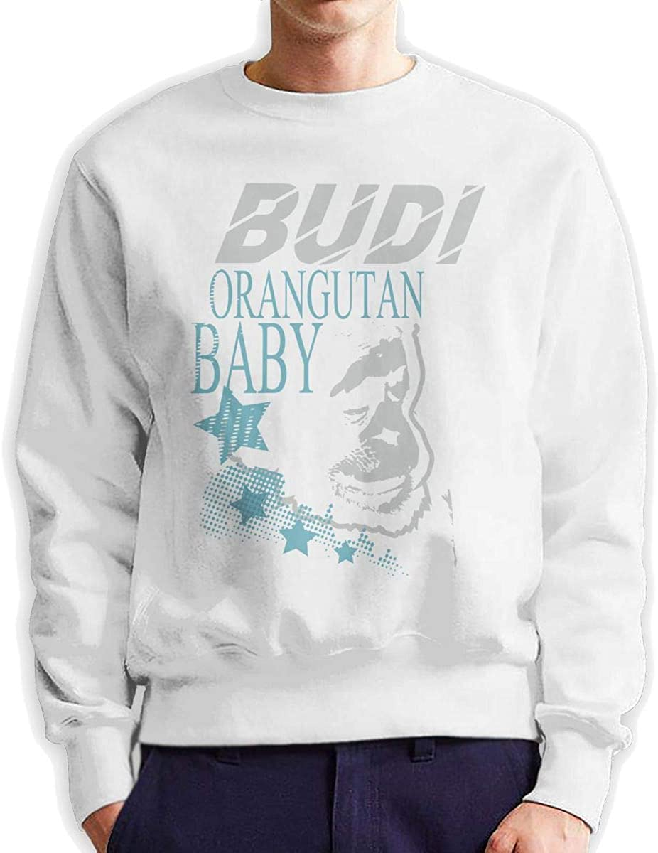 Dydelao Budi Orangutan Baby Mens Crew Neck Pullover Long Sleeves Warm and Comfortable Casual