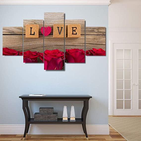 Peiyan Canvas Paintings Living Room Decor Wall Art 5 Piezas Love in Scrabble Pieces Pictures HD Prints Heart Red Roses Poster Marco-Grande con Marco: Amazon.es: Hogar