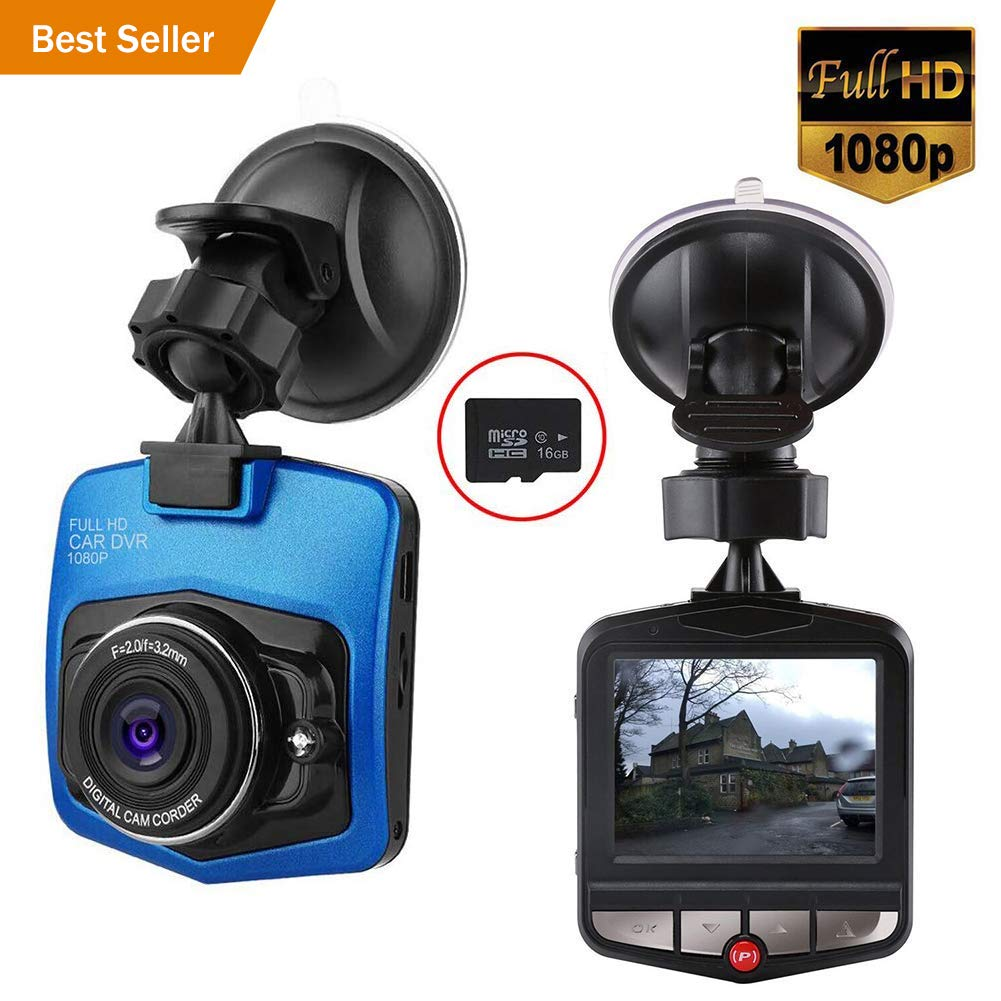 Full HD 1080P con tarjeta SD de 16 GB incluida con sensor G Loop grabaci/ón Mini c/ámara de salpicadero para coche con grabadora de c/ámara de salpicadero color negro