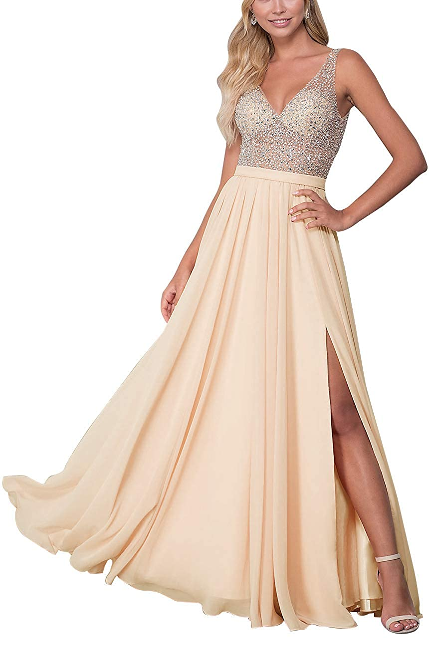 Champagne Staypretty Long Prom Gowns VNeck Beaded Formal Backless Evening Dresses for Women High Slit