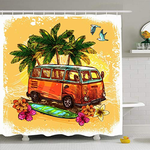 (Ahawoso Shower Curtain 60x72 Inches Car Hippie Surf Hippy Vintage Old Bus Abstract Nature Rasta Van Sketch Retro Beach Design Color Waterproof Polyester Fabric Bathroom Curtains Set with Hooks)