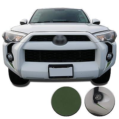 Optix Fog Light Bezel Fangs Precut Vinyl Wrap Overlay Kit Compatible with and Fits 4Runner 2014 2015 2016 2020 2020 2020 2020 - Matte Army Green: Automotive