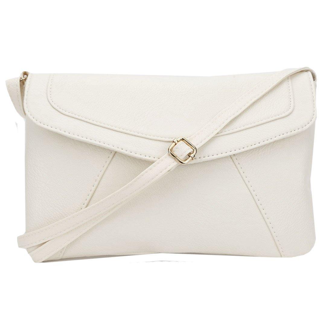 Felice Women Leather Envelope Satchel Small Crossbody Shoulder Bag Purse (White)