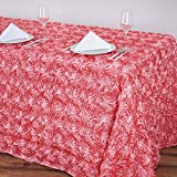 BalsaCircle 90x132 Rose Quartz Pink Satin Raised Rosettes Rectangle Tablecloth Wedding Party Dining Room Table Linens